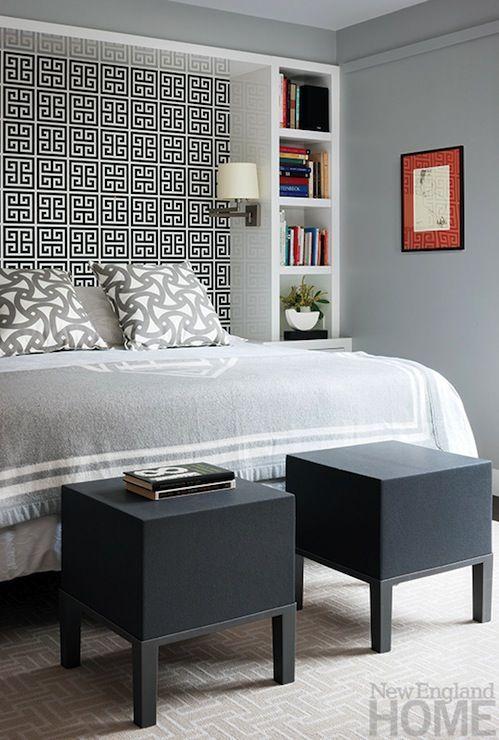 Jonathan Adler Greek Key Wallpaper Contemporary Bedroom New