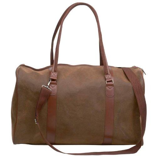 "21/"" Brown Vegan Leather Duffle Tote Bag Gym Travel CarryOn Mens Satchel Luggage"