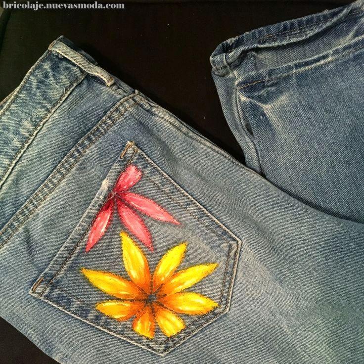 Excepcional Pintado De Mezclilla Liquitex Professional Acrilicos De Colores Flores Pocket Painted Clothes Diy Painted Denim Painted Jeans
