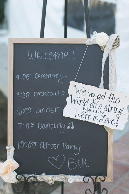 wedding itinerary sign