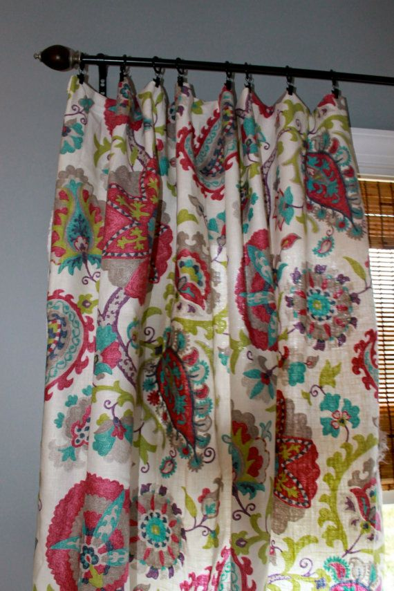 Magenta Teal Grey Green And Ivory Floral Curtain Panel Custom Drapery In Dining Room