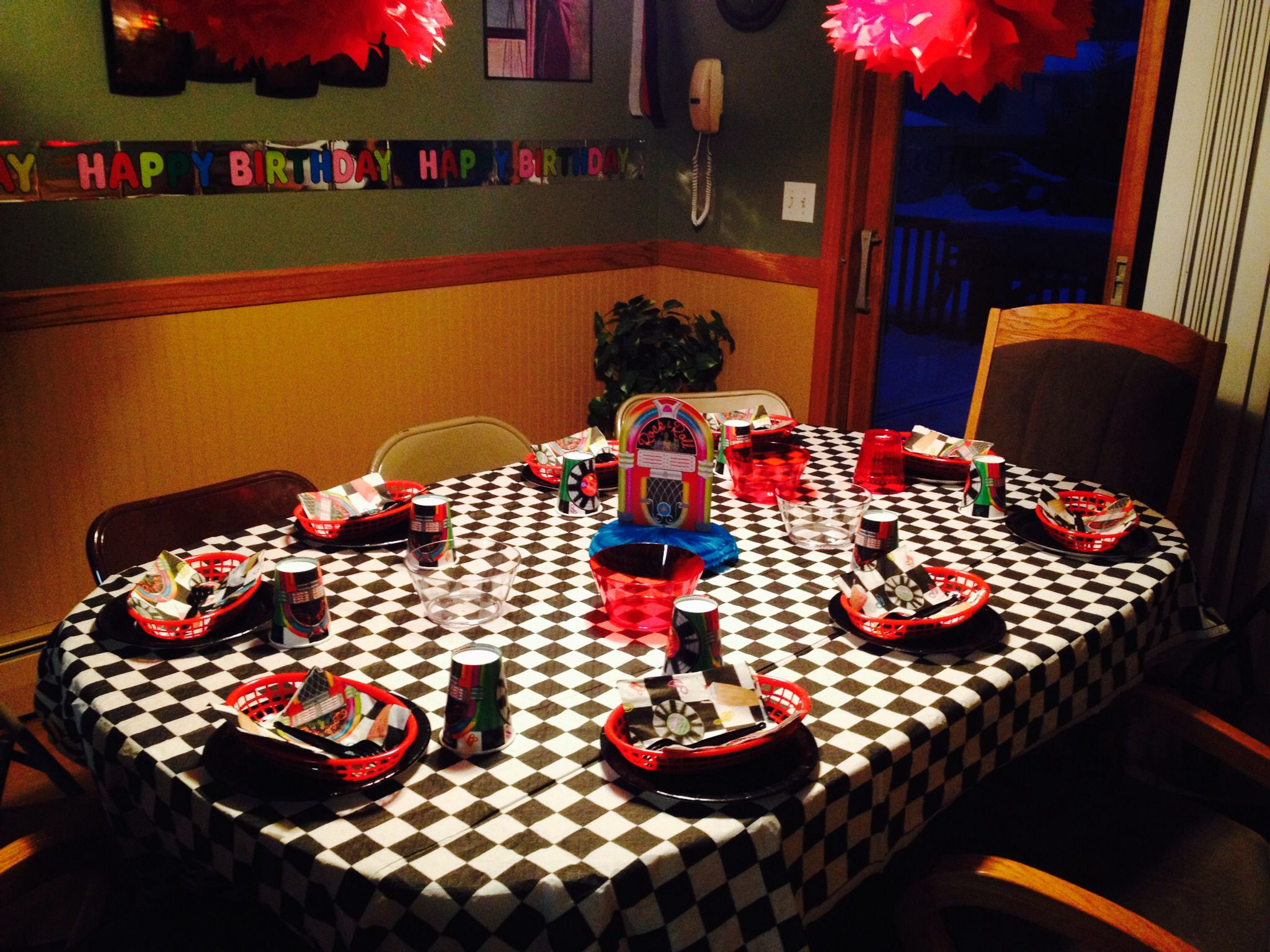 Grease Sock Hop 50u0027s Birthday Party   Table Settings.