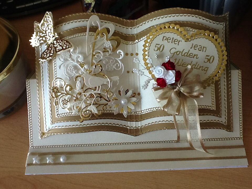 Golden Wedding Bookatrix 50th Anniversary Cards Wedding Cards Handmade Wedding Anniversary Cards
