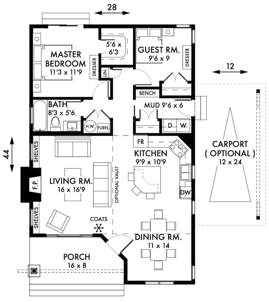 Two Story Tiny House Plan: 2 Bedroom Cottage Floor Plans