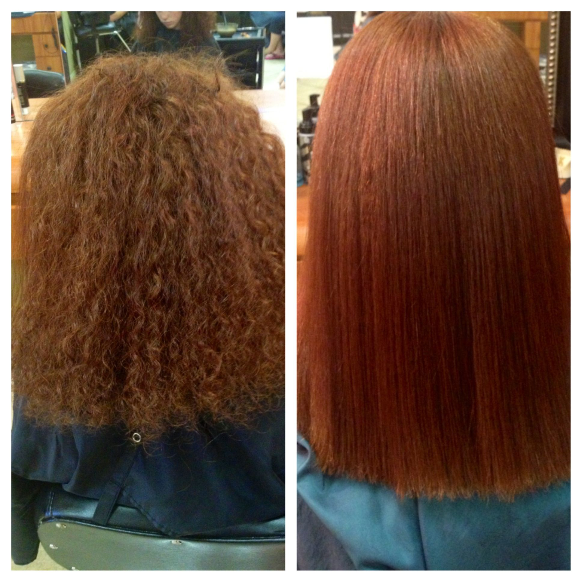 Straight perm and dying hair - Before And After Chi Permanent Straightening