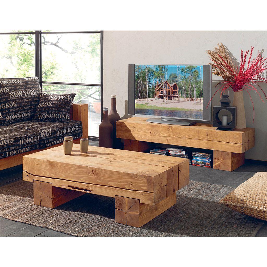 table basse poutre en pin massif aux