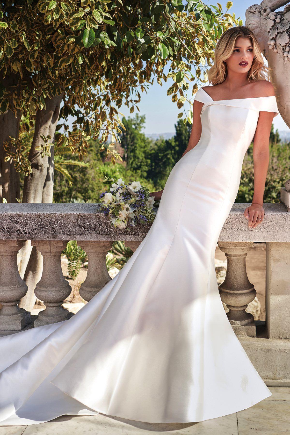 F221002 Mikado Asymmetrical Neckline Wedding Dress With Semi Cathedral Train Wedding Dress Necklines Jasmine Bridal Bridal Gowns [ 1800 x 1200 Pixel ]