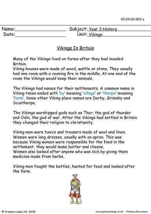 Primaryleap Vikings In Britain Worksheet Places To Visit