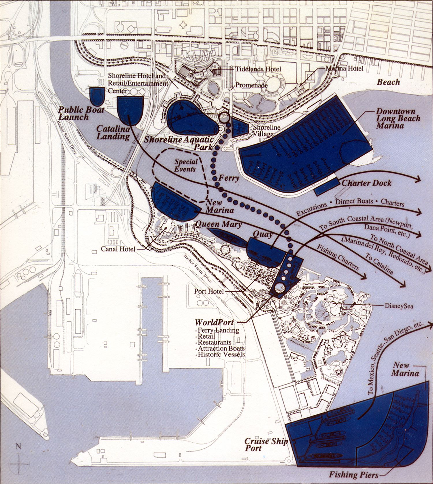 A map of Disneys Port Disney outlining the water transport