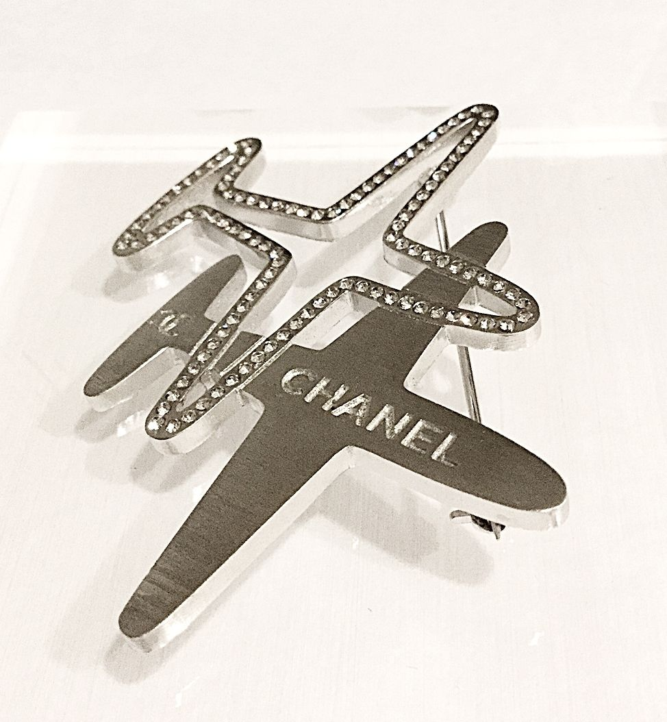 a0d9f5e774 NEW #CHANEL AIRLINE Runway SILVER CRYSTAL Double Airplane Brooch ...