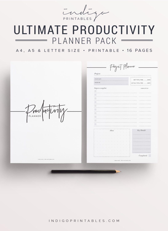 Productivity Planner Productivity Pack Goal Planner