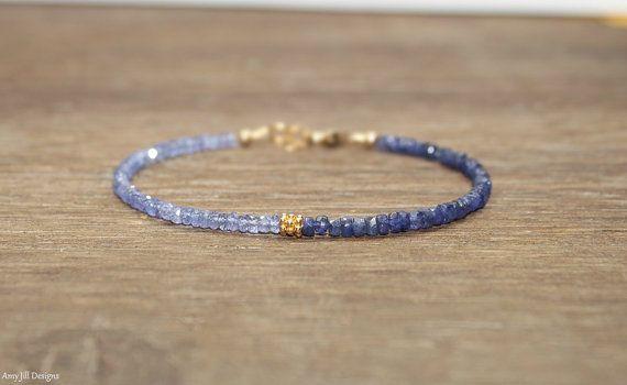 Tanzanite & Sapphire Bracelet, Sapphire Jewelry, September Birthstone, Gemstone Bracelet