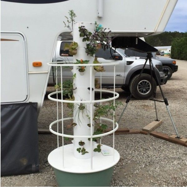 Tower Garden. Growing your own vegetables on the road.  http://fifthwheelliving.org/2015/07/08/tower-garden/