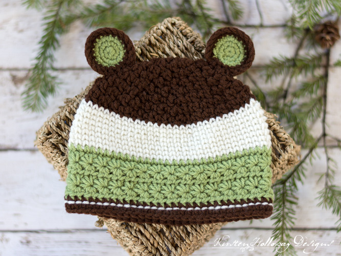 Grizzly Mountain Crochet Bear Hat Pattern for Baby, Toddler, Kids and Adults #crochetbear