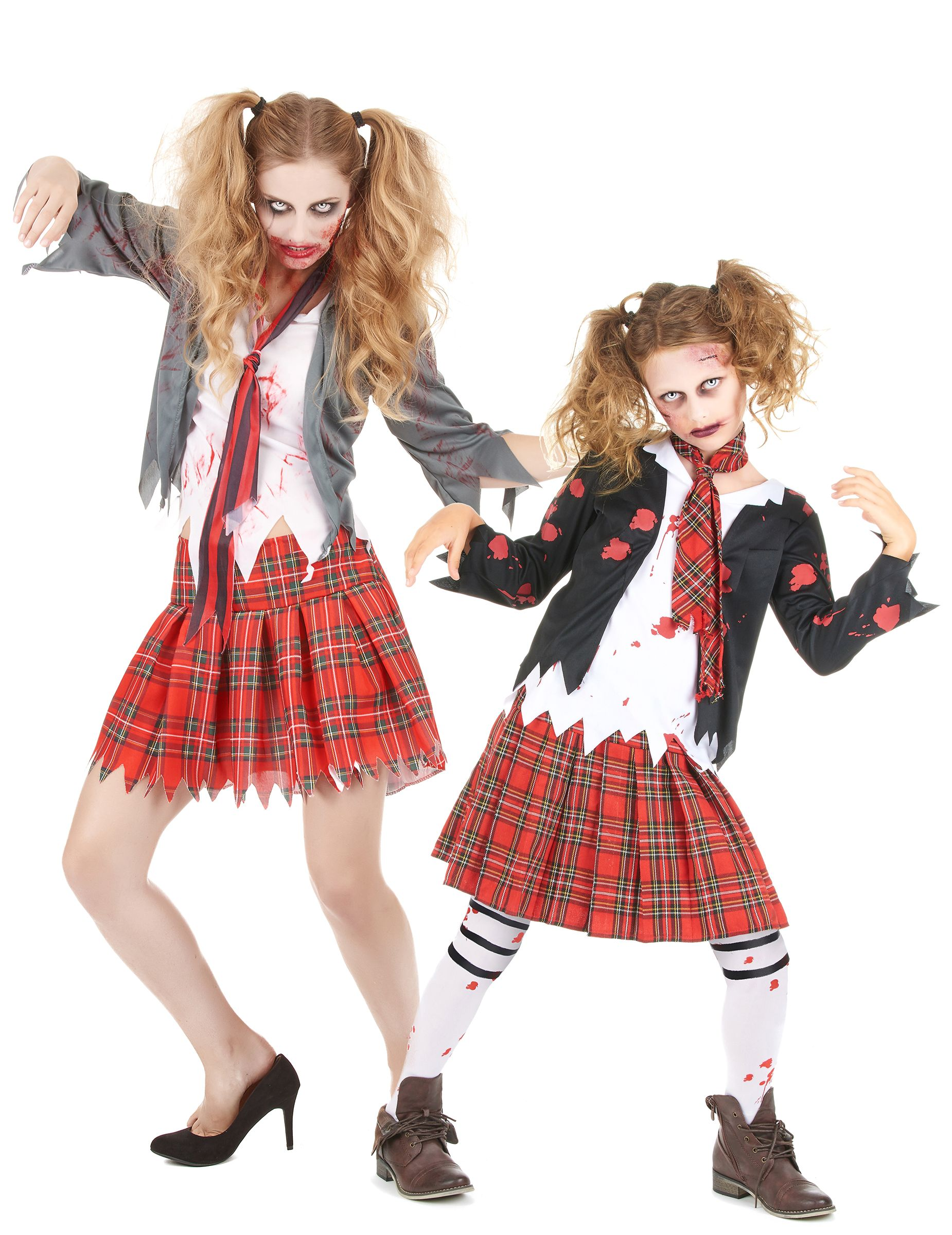 Costume da scolare zombie mamma e figlia halloween  Un costume da coppia  mamma e figlia 056d23bd5f40