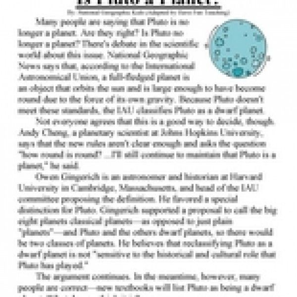 Is Pluto a Planet? - Reading Comprehension Worksheet in 2018 | 2 ...