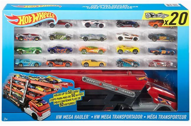 Hot Wheels Cars Collection Mega Hauler With 20 Die Cast Vehicles