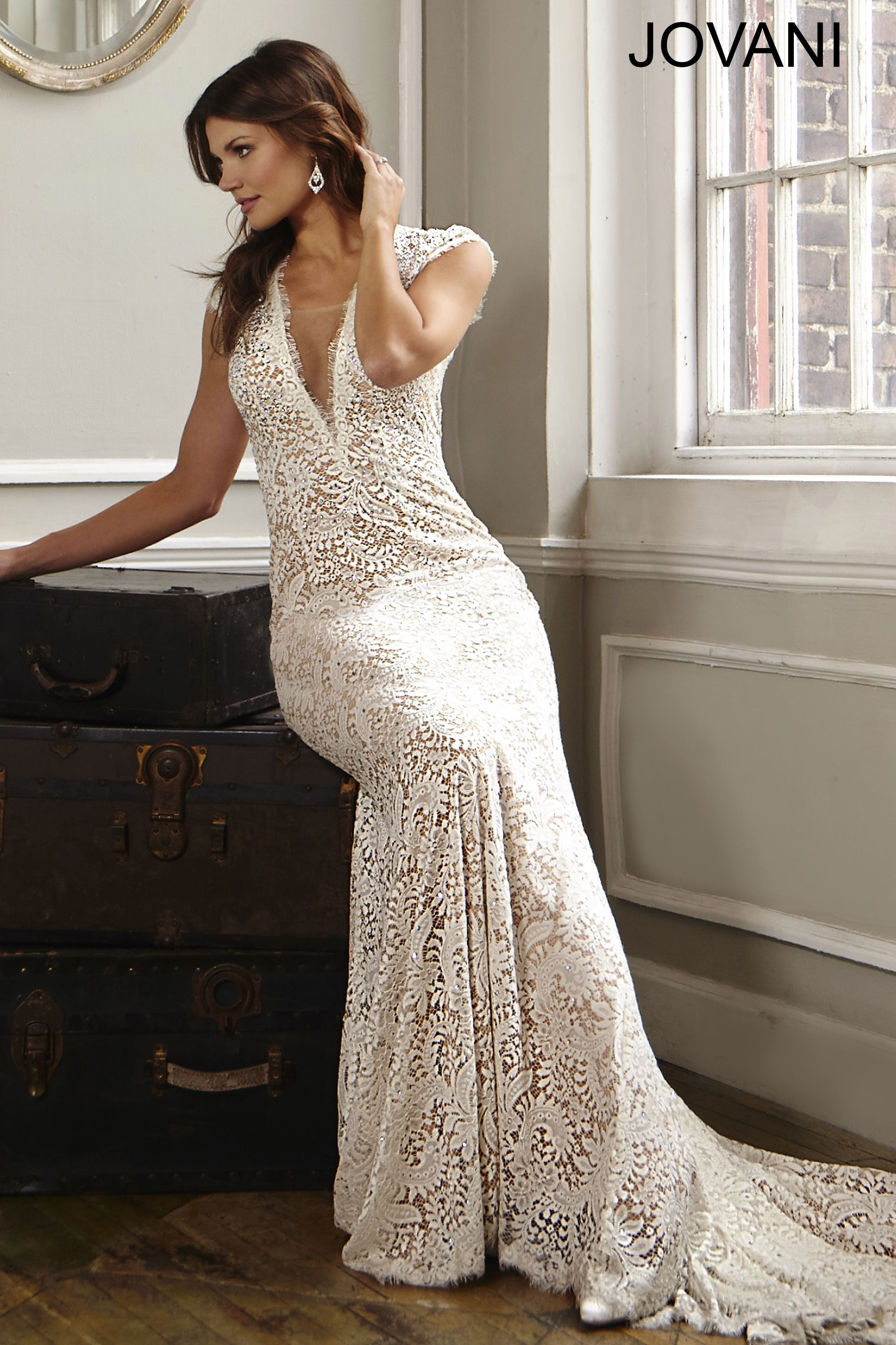 My dress for our vow exchange open back lace bridal dress