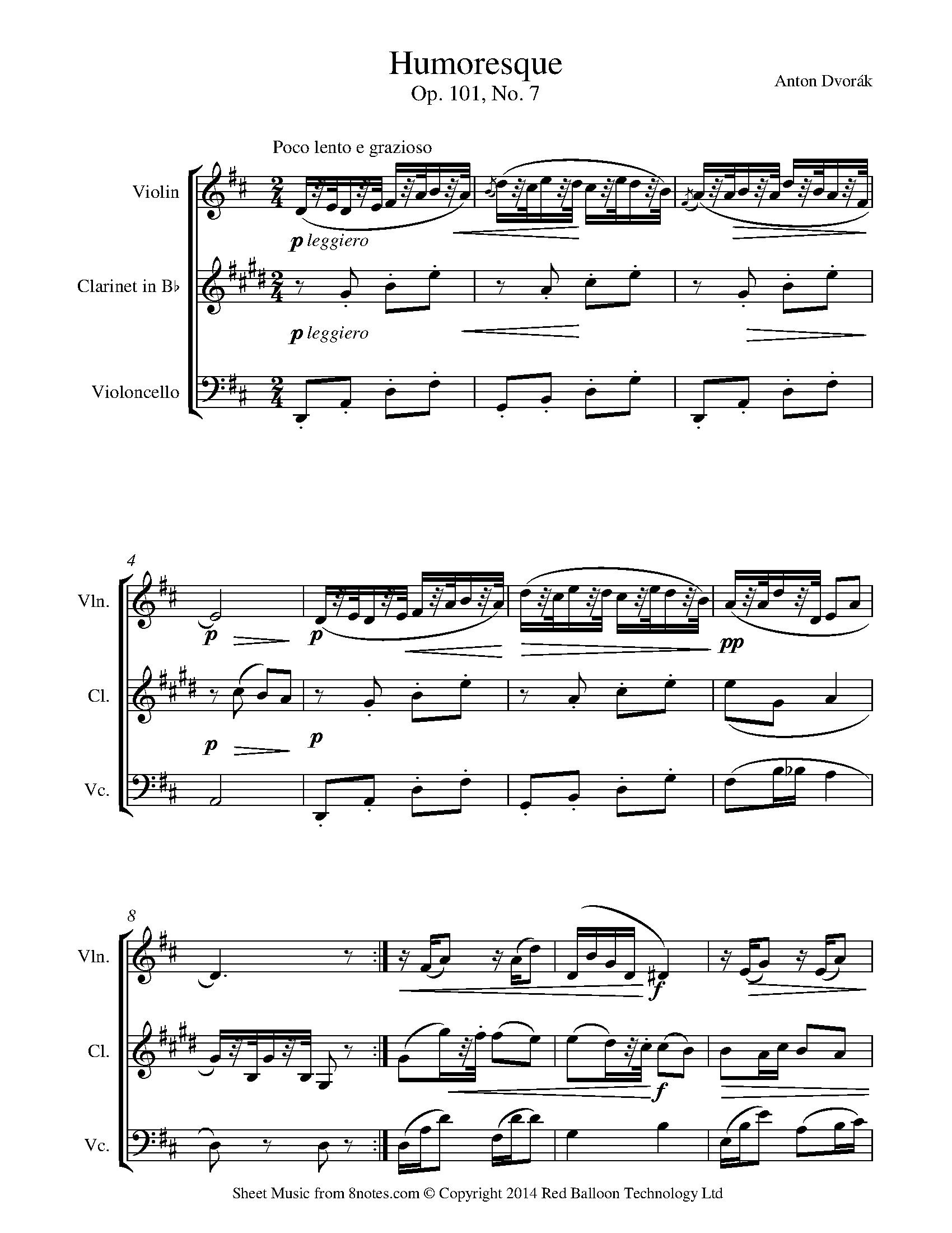 humoresque cello violin music sheet 8notes clarinet visit dvorak