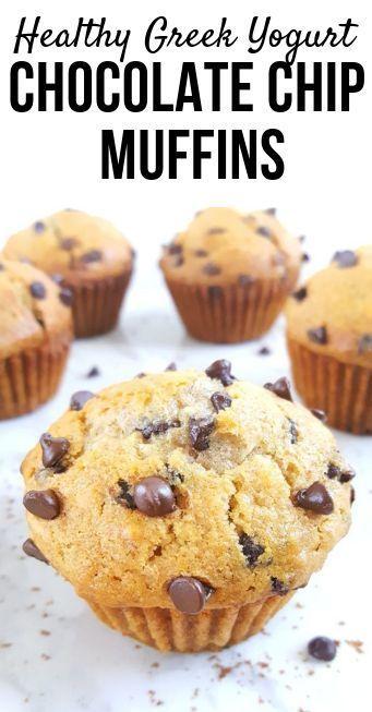 Healthy Greek Yogurt Chocolate Chip Muffins | Beat Bake Eat -   14 healthy recipes Protein greek yogurt ideas