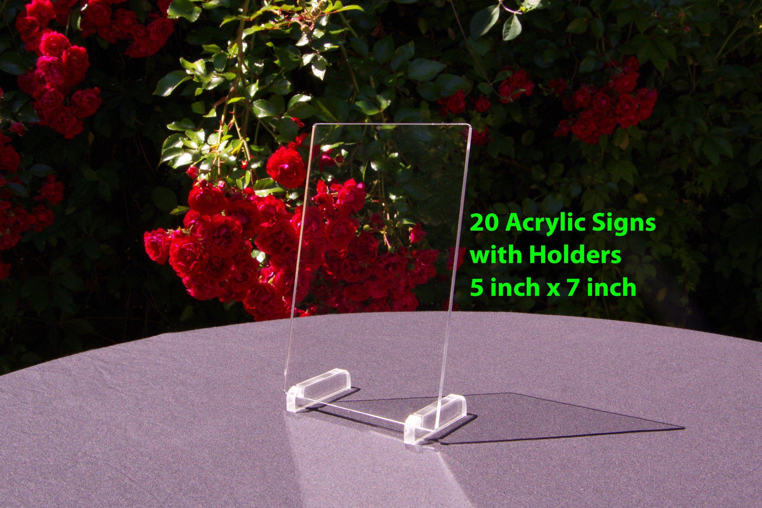 20 Acrylic Table Numbers Blanks 5x7 Acrylic Sign Blank