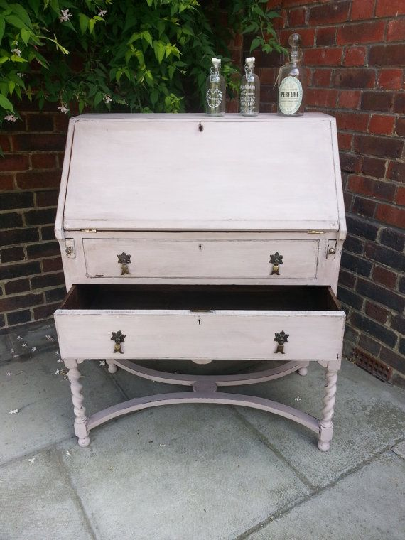 Bureau Vintage Writing Desk With Drawers Boudoir Country Shabby Chic Distressed White Calamine Writing Desk With Drawers Vintage Writing Desk Bureau Vintage