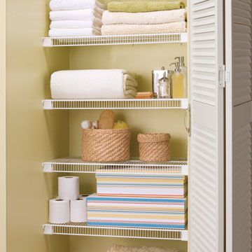 1/7/13 Wire Shelving In The Linen Closet Helps The Linens To Breathe