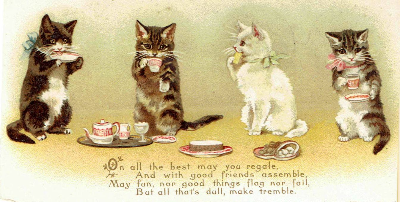 Helena Maguire Kittens Drinking Tea 2 Of 2 Cats Illustration Cat Posters Cute Cats