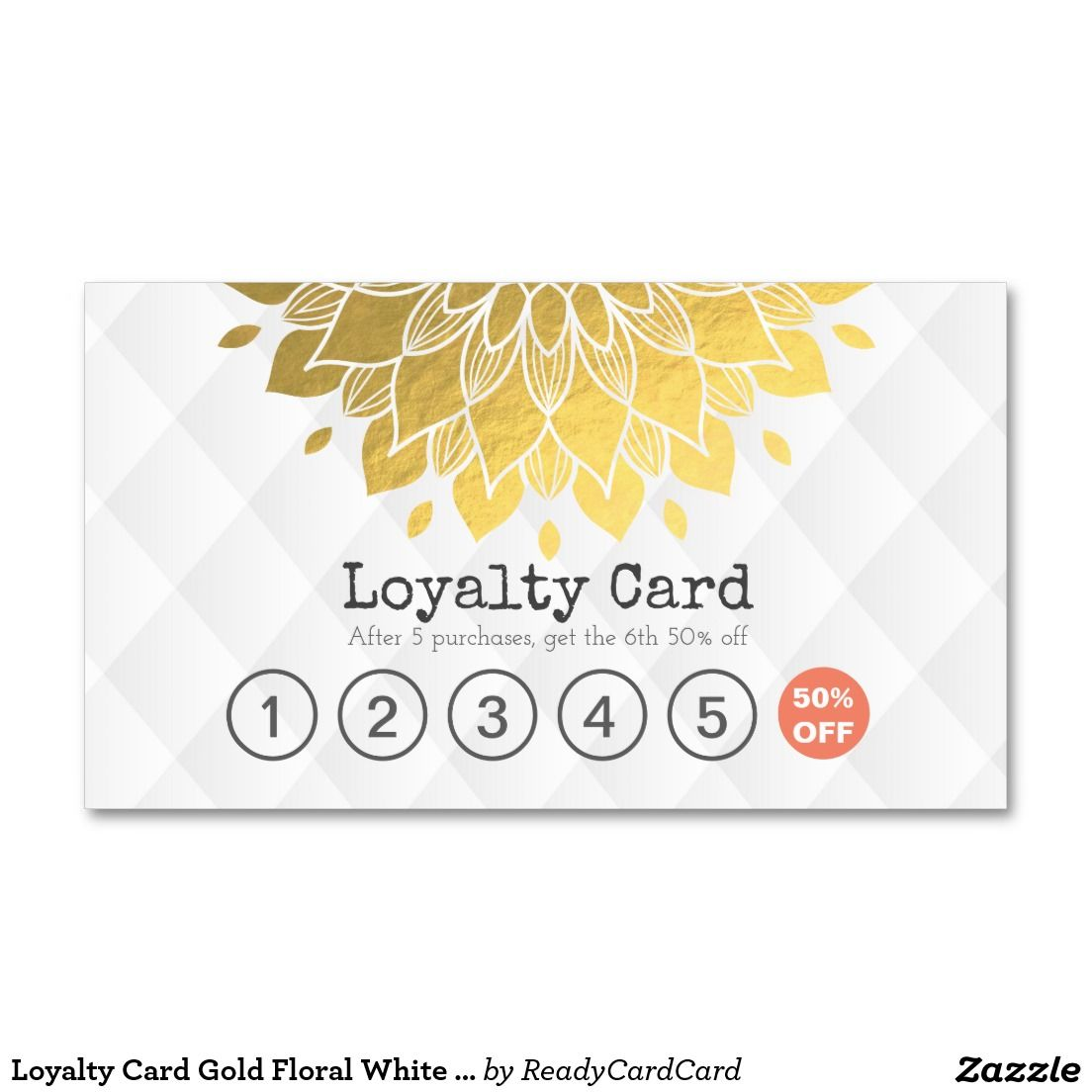 Loyalty Card Gold Floral White Leather Hair Makeup Business Card ...