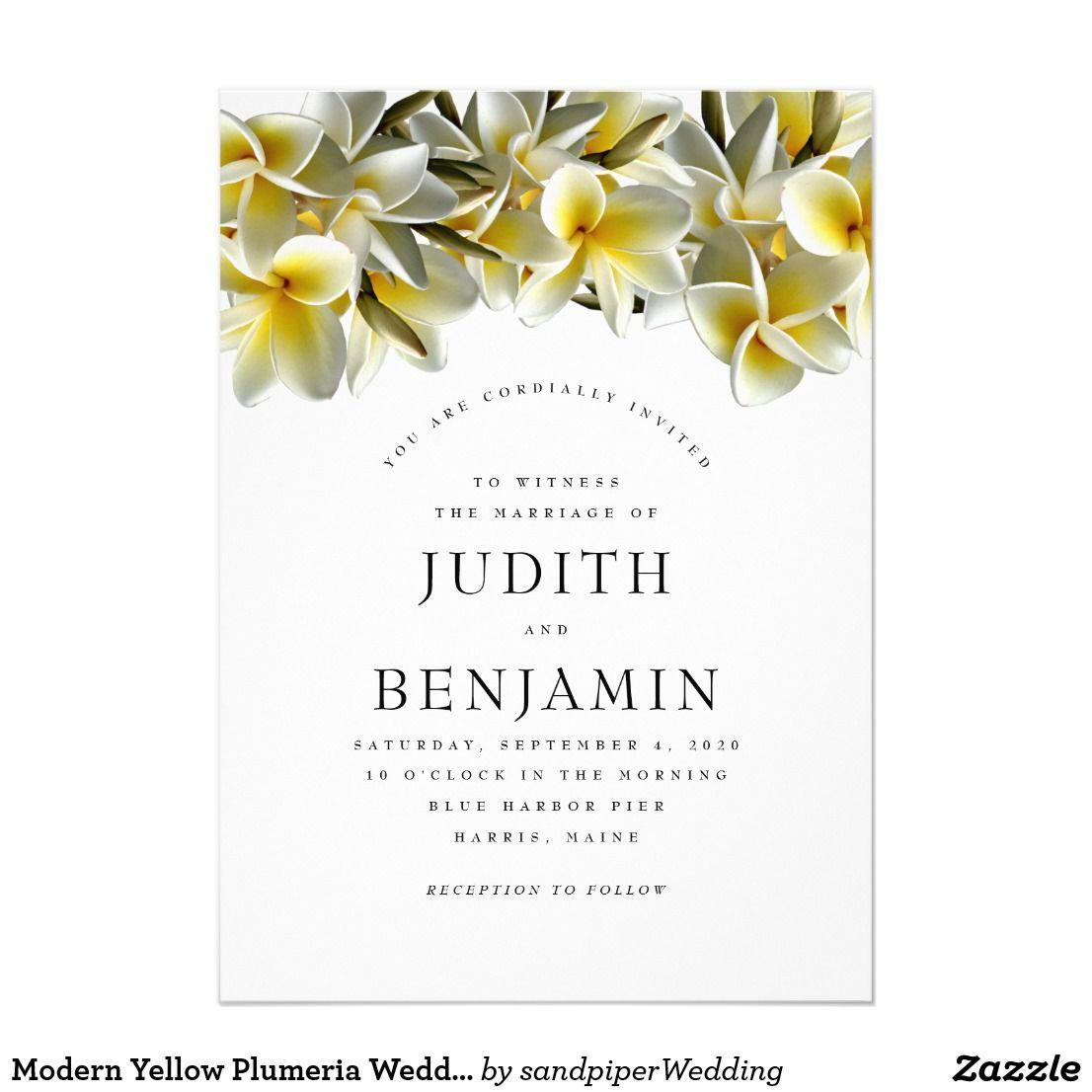 Modern Yellow Plumeria Wedding Invitation | Designer Wedding ...
