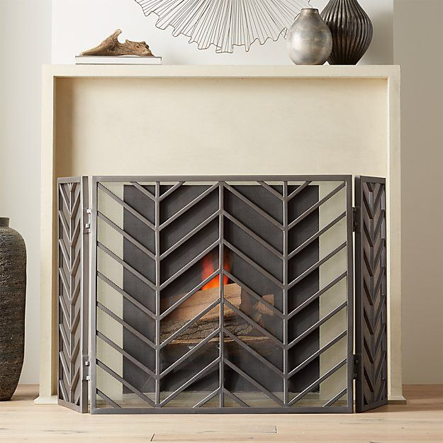 Chevron Pewter 3 Panel Fireplace Screen In 2019