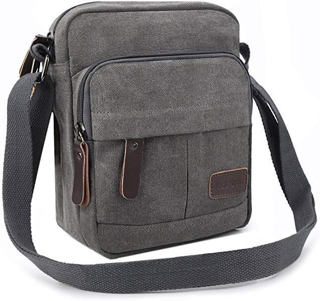 ee4d68ad8a Koolertron Fashion Men s Retro Lightweight Small Canvas Cross Body Everyday Satchel  Bag Messenger Bag(Black