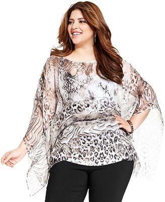 Style Co Plus Size Batwing Sleeve Printed Top Plus Size Fashion Plus Size Tops Tops
