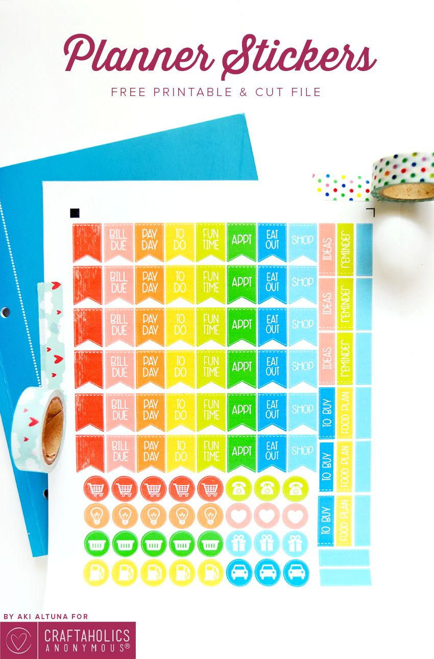 Craftaholics anonymous printable planner stickers made with your silhouette