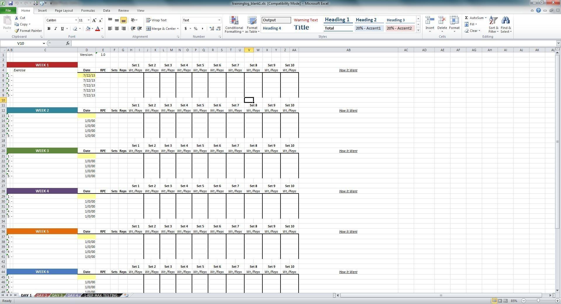 New Excel Workout Tracker Xls Xlsformat Xlstemplates Xlstemplate