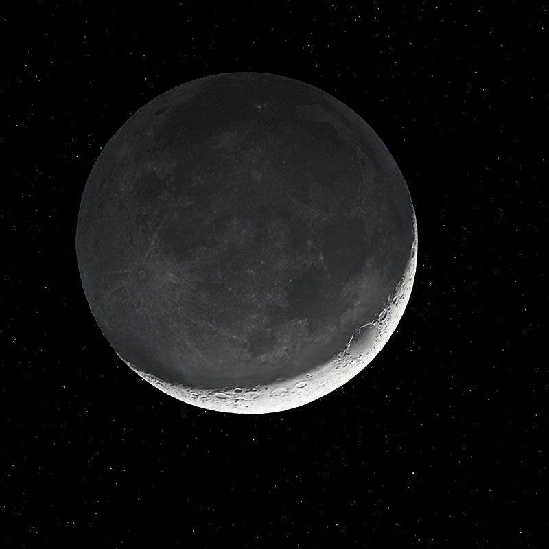 2 day after newmoon, earthshine on the dark side.