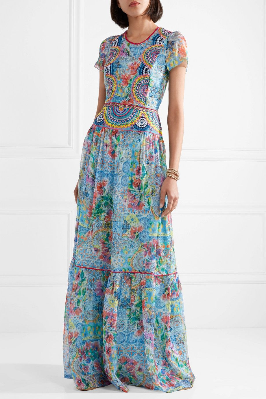 Deia Fiesta Embroidered Printed Silk-chiffon Maxi Dress - Light blue Matthew Williamson 6PRzKP0Wwe