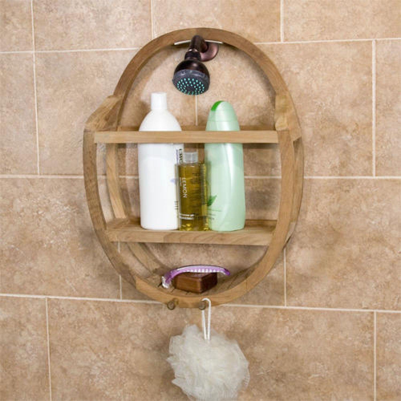 Teak Round Shower Caddy Bathroom Teak Shower Shower Caddy Shower Shelves