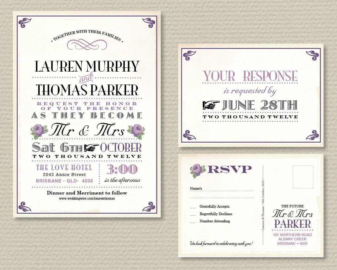 Printable Wedding Invitation Rsvp Vintage Poster Design With Purple Roses