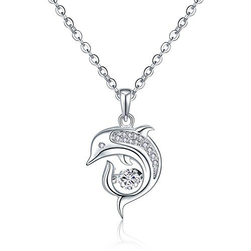 Dancing Diamond Sterling Silver Cute Dolphins Pendant Nec