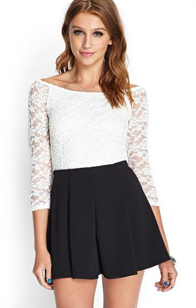 db9e6796e61ad9 Forever 21 Fitted Floral Lace Top in Beige (CREAM) - Lyst   Crop ...