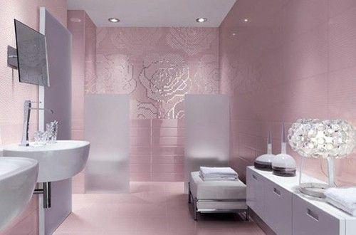 افكار واشكال موديلات سيراميك حمامات مودرن بالصور Pink Bathrooms Designs Pink Bathroom House Bathroom Designs