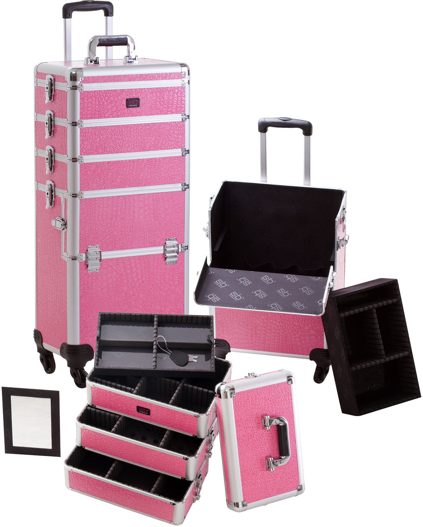 Pink Croco Makeup Train Case with 4 Spinner Wheels, only