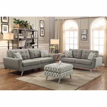 erica ii grey fabric sofa and loveseat d co salon pinterest rh pinterest com Grey Tufted Sofa Grey Sectional Sofa