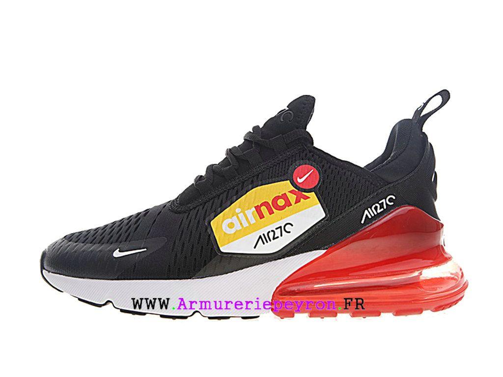 quality design 98ace 3a0e5 Nike Air Max 270 Flyknit Nouvelles chaussures de sport Pas cher Homme Noir  blanc rouge AH8050