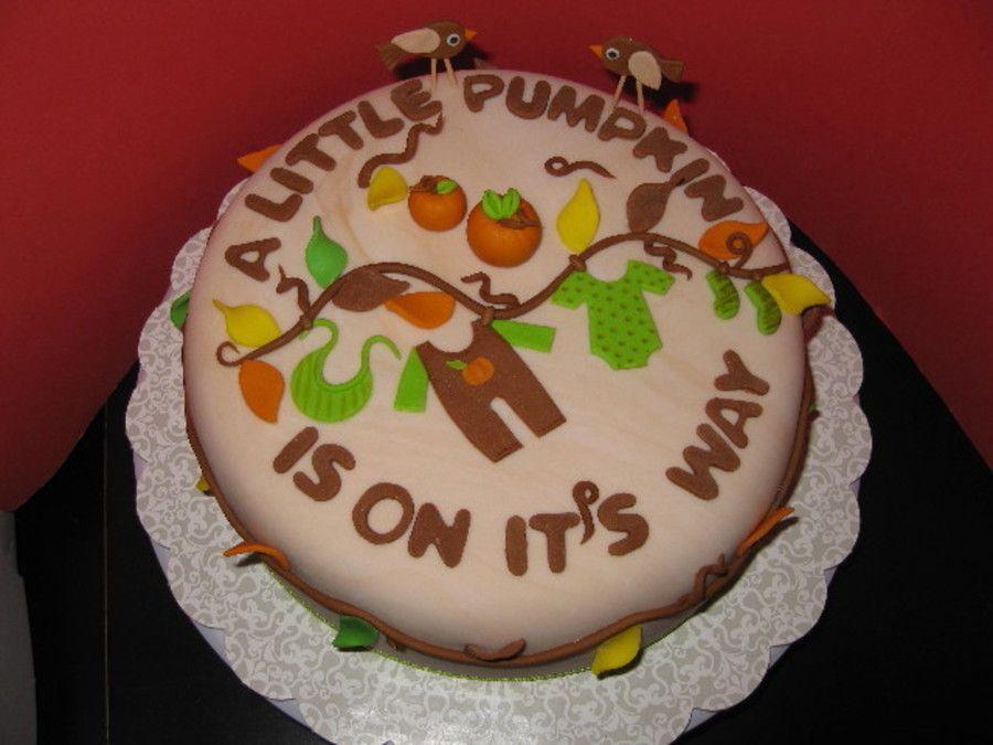 Fall Themed Baby Shower Cakes Part - 30: Little Pumpkin Baby Shower Cake