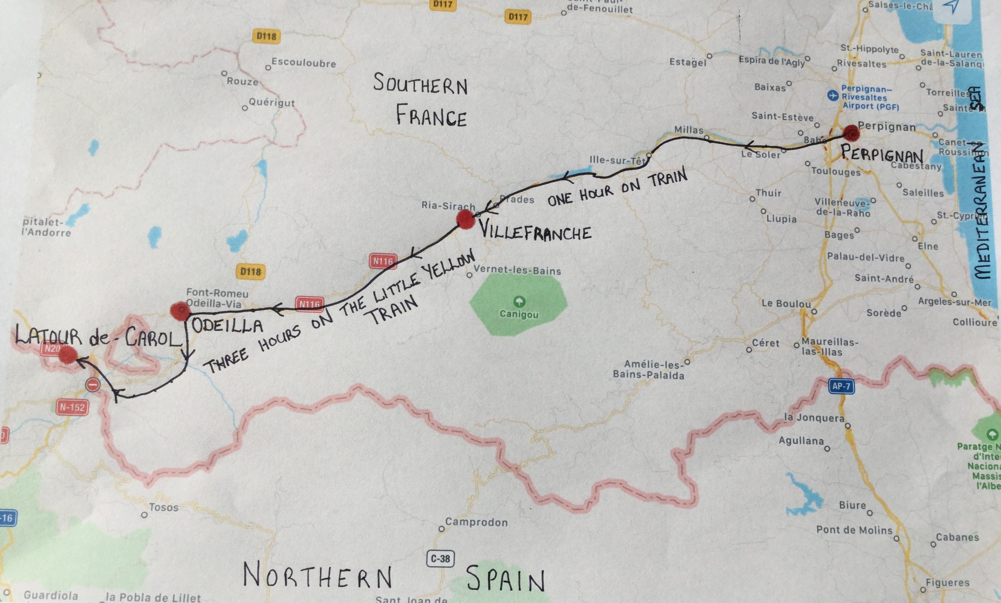 Map Of Southern France And Spain.Pyrenees Southern France The Little Yellow Train France Trip