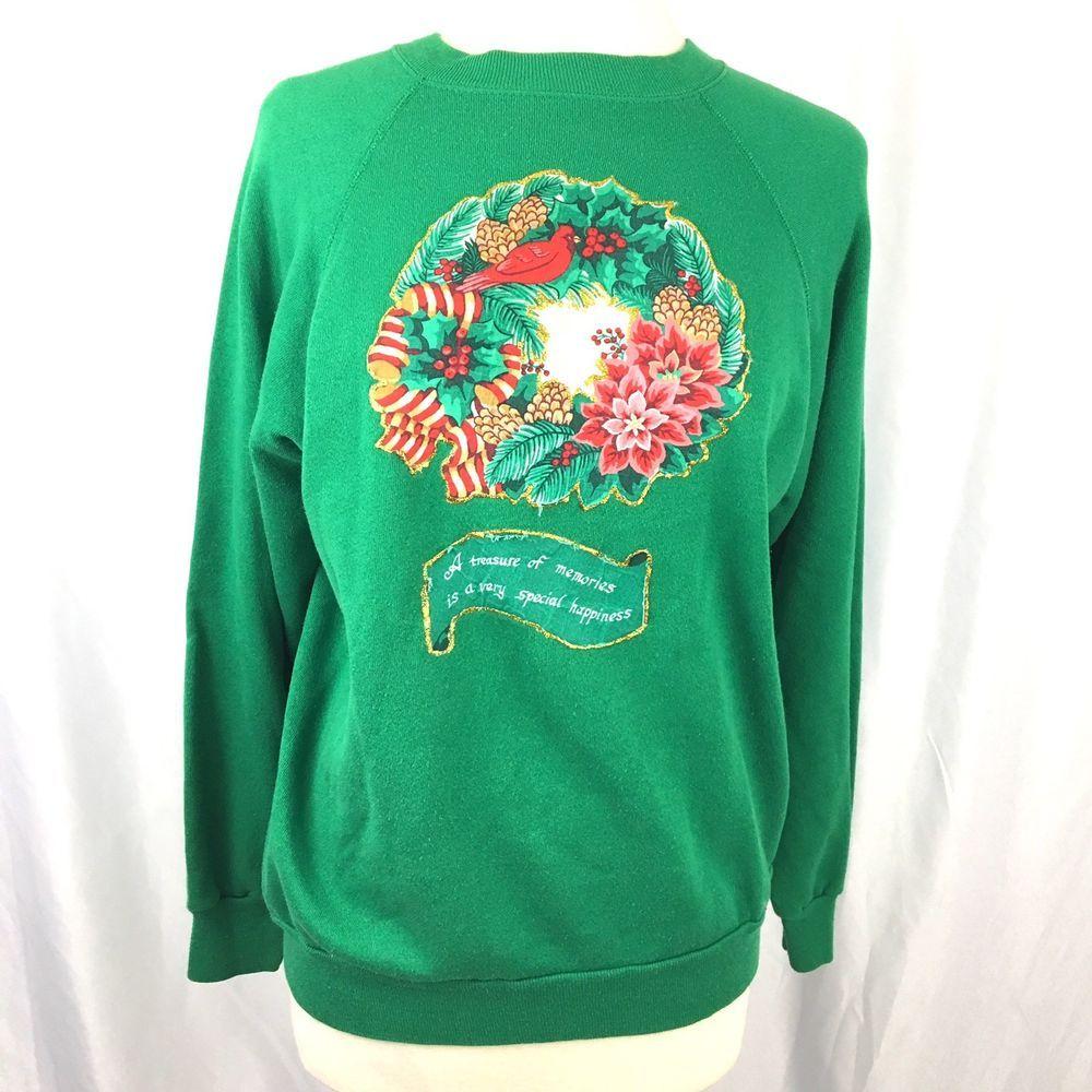 vintage ugly christmas sweater sweatshirt womens size medium hand glitter wreath ebay - Ebay Ugly Christmas Sweater