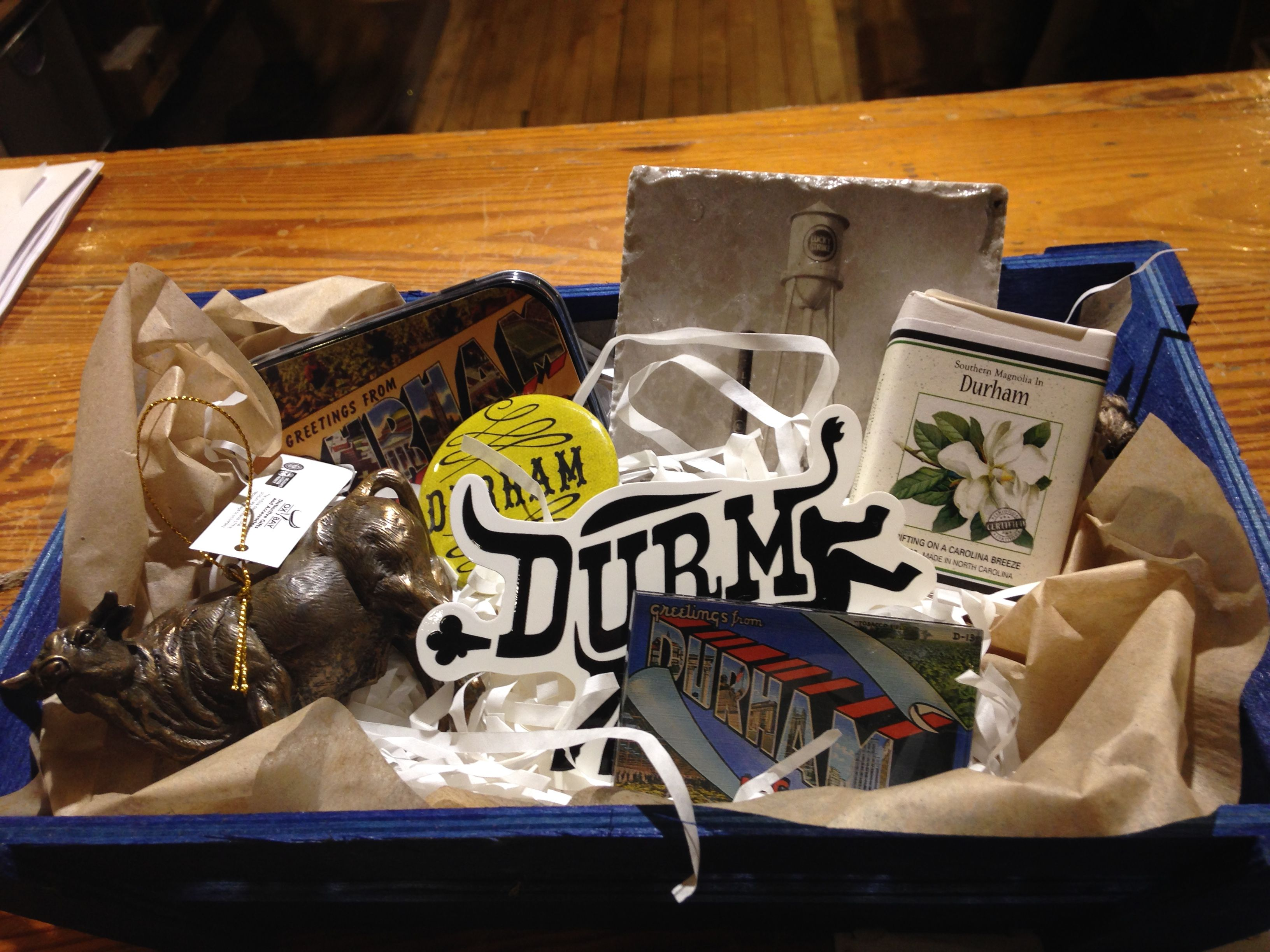 "Durham gift basket at M.I. (Durham soap, Durham mints, Durham bottle opener, Durham coaster, Durham ""Major"" bull ornament, and ""Durm"" bumpersticker)"