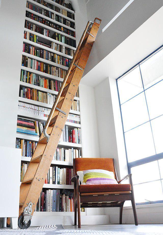 Library Ladder Floor To Ceiling Bookshelves Library Ladder